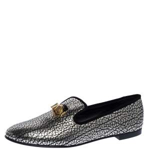 Giuseppe Zanotti Black/Silver Textured Leather Smoking Slippers Size 39