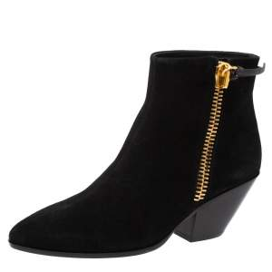 Giuseppe Zanotti Black Suede Side Zip Ankle  Boots Size 37