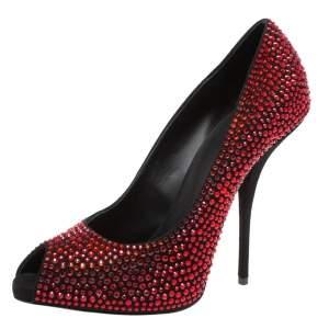 Giuseppe Zanotti Red/Black Suede Nika Crystal Embellished Peep Toe Pumps Size 39.5