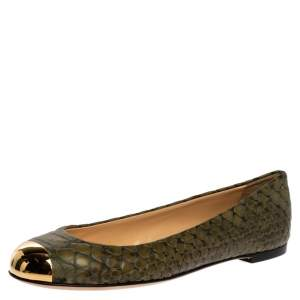 Giuseppe Zanotti Green Python Embossed Leather Metal Cap Toe Ballet Flats Size 39