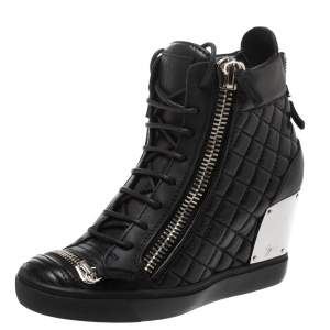 Giuseppe Zanotti Black Quilted Leather Wedge Sneakers Size 40