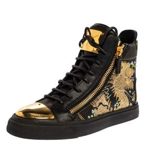 Giuseppe Zanotti Black Dragon Embroidered Leather Double Zip High Top Sneakers Size 37
