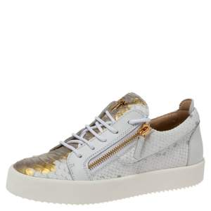 Giuseppe Zanotti White/Gold Python Embossed Leather Dona Low Top Sneakers Size 40