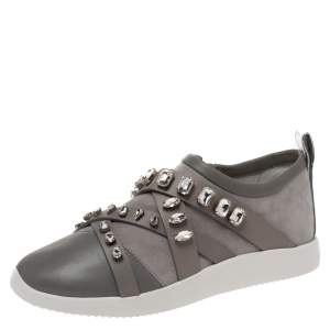 Giuseppe Zanotti Grey Suede Leather Crystal Embellihsed Low Top Sneakers Size 37.5