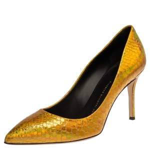 Giuseppe Zanotti Metallic Gold Python Embossed Leather Pointed Toe Pumps Size 39