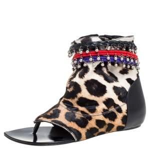 Giuseppe Zanotti Brown Animal Print Charm Flat Sandals Size 37