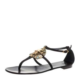 Giuseppe Zanotti Black Leather Embellished Strappy Flat Sandals Size 40