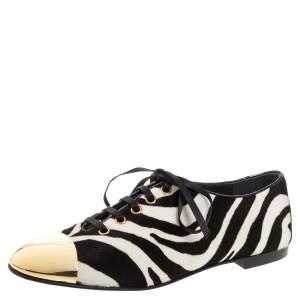 Giuseppe Zanotti White/Black Zebra Print Pony Hair And Metal Cap Toe Lace Up Oxfords Size 38