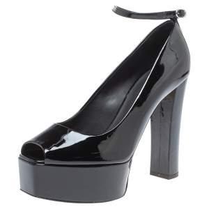 Giuseppe Zanotti Black Patent Leather Platform Peep Toe Ankle Cuff Pumps Size 40