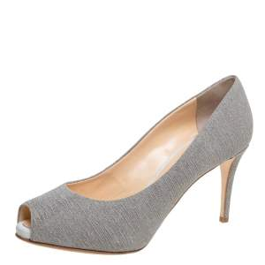 Giuseppe Zanotti Grey Glitter Fabric Platform Peep Toe Pumps Size 40