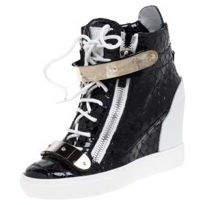 Giuseppe Zanotti Black Python Embossed Patent Leather Lorenz Wedge High Top Sneakers Size 38