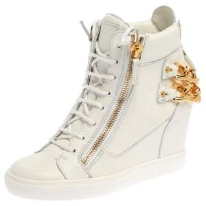 Giuseppe Zanotti White Leather Chain Detail High Top Wedge Sneakers Size 41