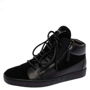 Giuseppe Zanotti Black Leather And Suede Nero Breck High Top Sneakers Size 37
