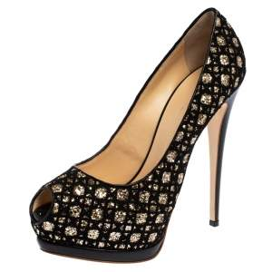 Giuseppe Zanotti Black Sharon Glitter And Lace Liza Peep Toe Platform Pumps Size 41
