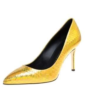 Giuseppe Zanotti Metallic Gold Python Embossed Leather Pointed Toe Pumps Size 36
