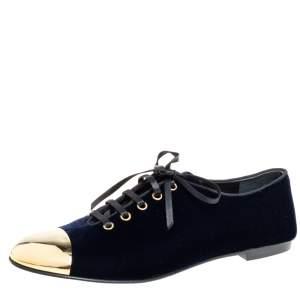 حذاء فلات أكسفورد جوسيبى زانوتى غطاء مقدمة لون ذهبى قطيفة أزرق مقاس 41
