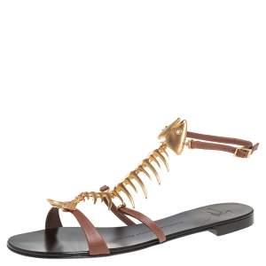 حذاء فلات جوسيبي زانوتي جلد بني سمكة مزخرفة مقاس 36