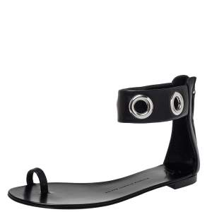 Giuseppe Zanotti Black Leather Ankle Strap Sandals Size 39