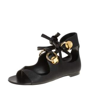 Giuseppe Zanotti Black Leather Flat Ankle Wrap Sandals Size 38