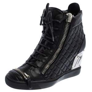 Giuseppe Zanotti Black Quilted Leather Lorenz Wedge Sneakers Size 41