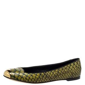 Giuseppe Zanotti Green Python Embossed Leather Ballet Flats Size 41