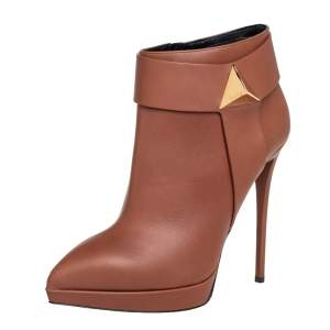Giuseppe Zanotti Brown Leather Pyramid Stud Platform Ankle Boots Size 41