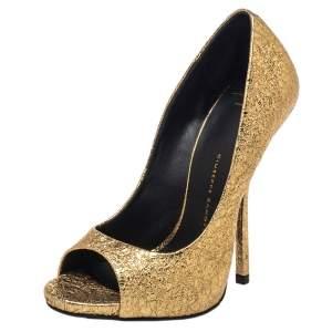 حذاء كعب عالي جوسيبي زانوتي مقدمة مفتوحة جلد ذهبي مقاس 35