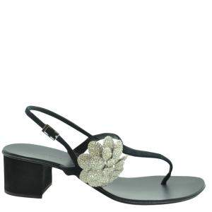 Giuseppe Zanotti Black Leather T-bar Sandals Size EU 36.5