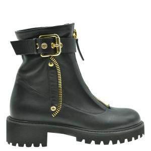 Giuseppe Zanotti Black Leather Ankle Boots Size EU 35