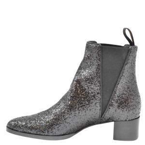 Giuseppe Zanotti Black Glitter Detail Ankle Boots Size EU 37