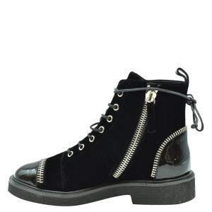 Giuseppe Zanotti Black velvet Lace-up Booties Size EU 36