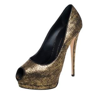 Giuseppe Zanotti Metallic Gold Python Embossed Leather Peep Toe Platform Pumps Size 40