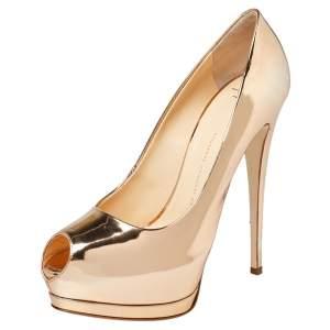 Giuseppe Zanotti Gold Mirrored Leather Peep Toe Platform Pumps Size 41