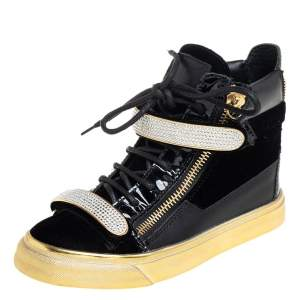 Giuseppe Zanotti Black Leather and Velvet Crystal Strap High Top Sneakers Size 35