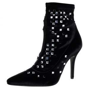Giuseppe Zanotti Black Velvet Embellished Boots Size 37