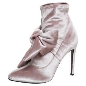 Giuseppe Zanotti Beige Velvet Bow Detail Ankle Boots Size 39.5
