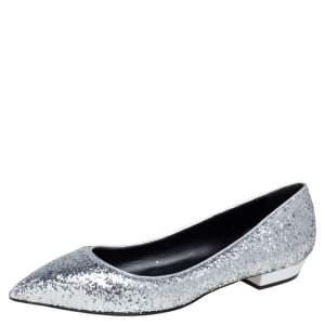 Giuseppe Zanotti Silver Glitter Pointed Toe Flats Size 41