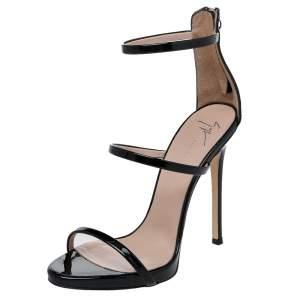 Giuseppe Zanotti Black Patent Leather Harmony Ankle Strap Sandals Size 37.5