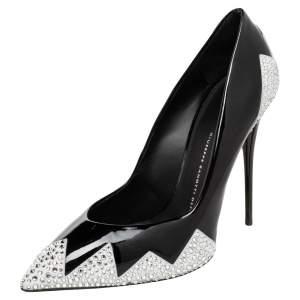 Giuseppe Zanotti Black Patent Leather Crystal Embellished Pumps Size 41