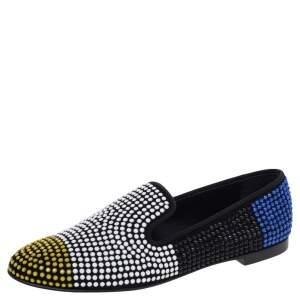 Giuseppe Zanotti Multicolor Fabric Slip on Loafers Size 39.5