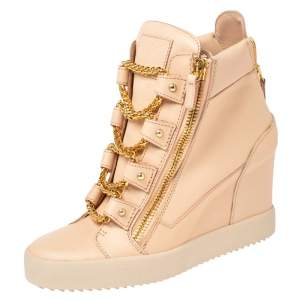 Giuseppe Zanotti Peach Leather Chain Detail Wedge Sneakers Size 41