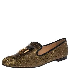 Giuseppe Zanotti Metallic Olive Green Embroidered Straw and Leather Studded Smoking Slippers Size 41