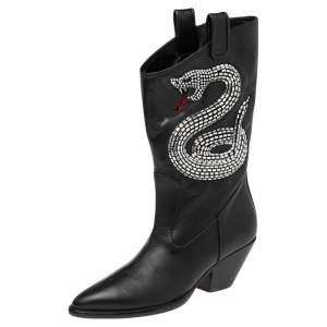 Giuseppe Zanotti Black Leather Snake Embellished Guns 55 Cowboy Boots Size 37