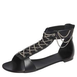 Giuseppe Zanotti Black Leather Roll Chain Detail Flat Sandals Size 41