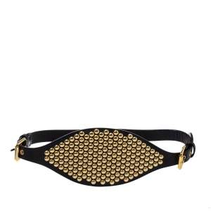 Giuseppe Zanotti Black Leather Studded Waist Belt Medium