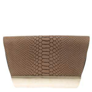 Giuseppe Zanotti Beige Python Embossed Suede Metal Trapezoid Clutch