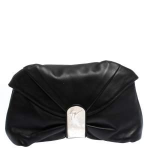 Giuseppe Zanotti Black Pleated Leather Flap Clutch