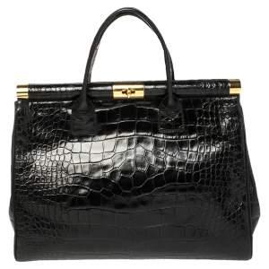 Giuseppe Zanotti Black Croc Embossed Leather Tote