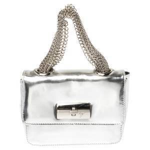 Giuseppe Zanotti Metallic Silver Leather Mini Multi Chain Top Handle Bag