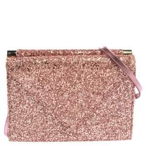 Giuseppe Zanotti Pink Coarse Glitter Envelope Flap Shoulder Bag